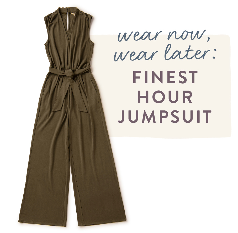 wear now, wear later: finest hour jumpsuit