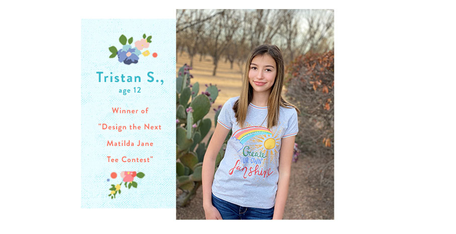 Tristan, winner of the Matilda Jane Design Our Next Tee Contest